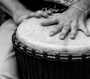 Dan Sam and his magical djembe hands at Gutierrez Studios! Anna K. Stone.