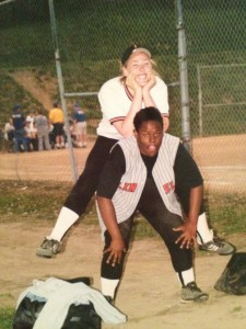 Me and my BFF playing Linsly softball! She is still one of my heroes! Liz was our coach :)