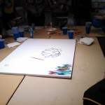 The canvas at the beginning of our event. The art was a gift to CCBC. Thank you for inviting us!