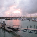 Sunset at the marina near the chalky cliffs in Brighton, UK